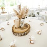 Rustic Tent Wedding _ Burlap and dried flower centerpieces